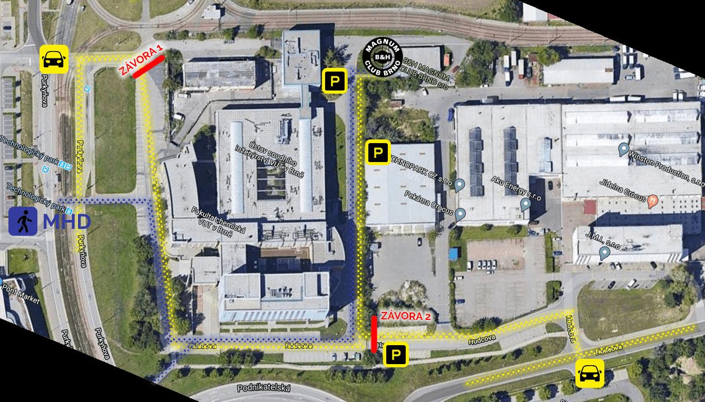 Mapa areálu B&H Magnum Club Brno